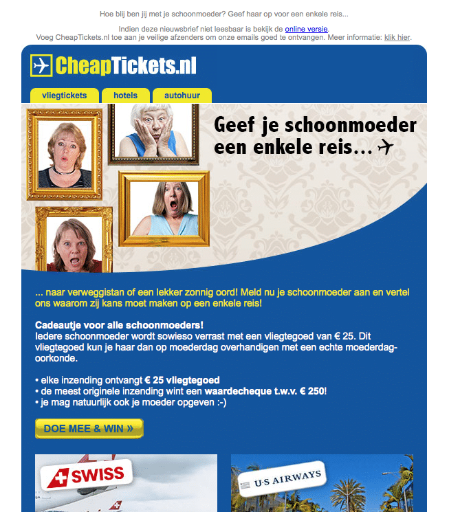 Moederdag e-mail CheapTickets